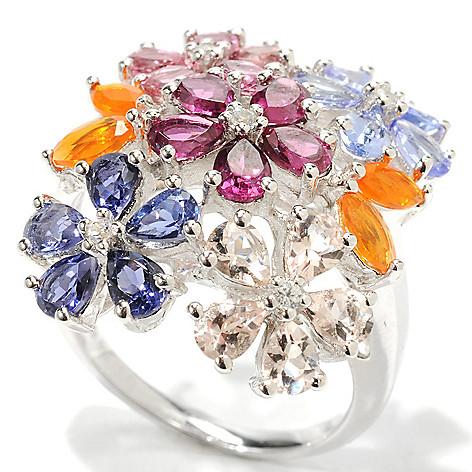 132-923 - Gem Insider Sterling Silver 4.18ctw Multi Gemstone Floral Arrangement Ring