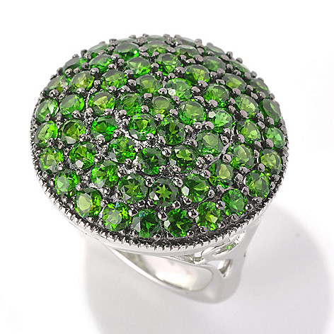 132-926 - NYC II 4.56ctw 60-Stone Chrome Diopside Round Top Contoured Ring