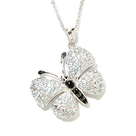 132-931 - Gem Treasures Sterling Silver 1.98ctw Blue Topaz & Spinel Butterfly Pendant w/ Chain