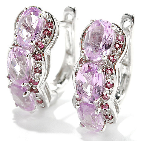 132-935 - Gem Treasures 14K White Gold 2.88ctw Kunzite & Pink Tourmaline Hoop Earrings
