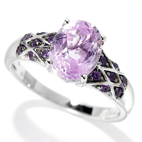 132-936 - Gem Treasures 14K White Gold 2.11ctw Kunzite & Amethyst Interlaced Ring