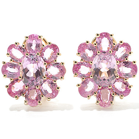 132-938 - Gem Treasures 14K Gold 8.82ctw Kunzite & Pink Sapphire Flower Earrings