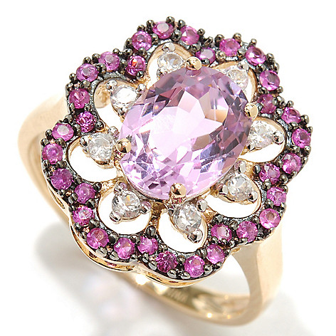 132-939 - Gem Treasures 14K Gold 2.41ctw Kunzite, Pink Sapphire & White Zircon Flower Ring
