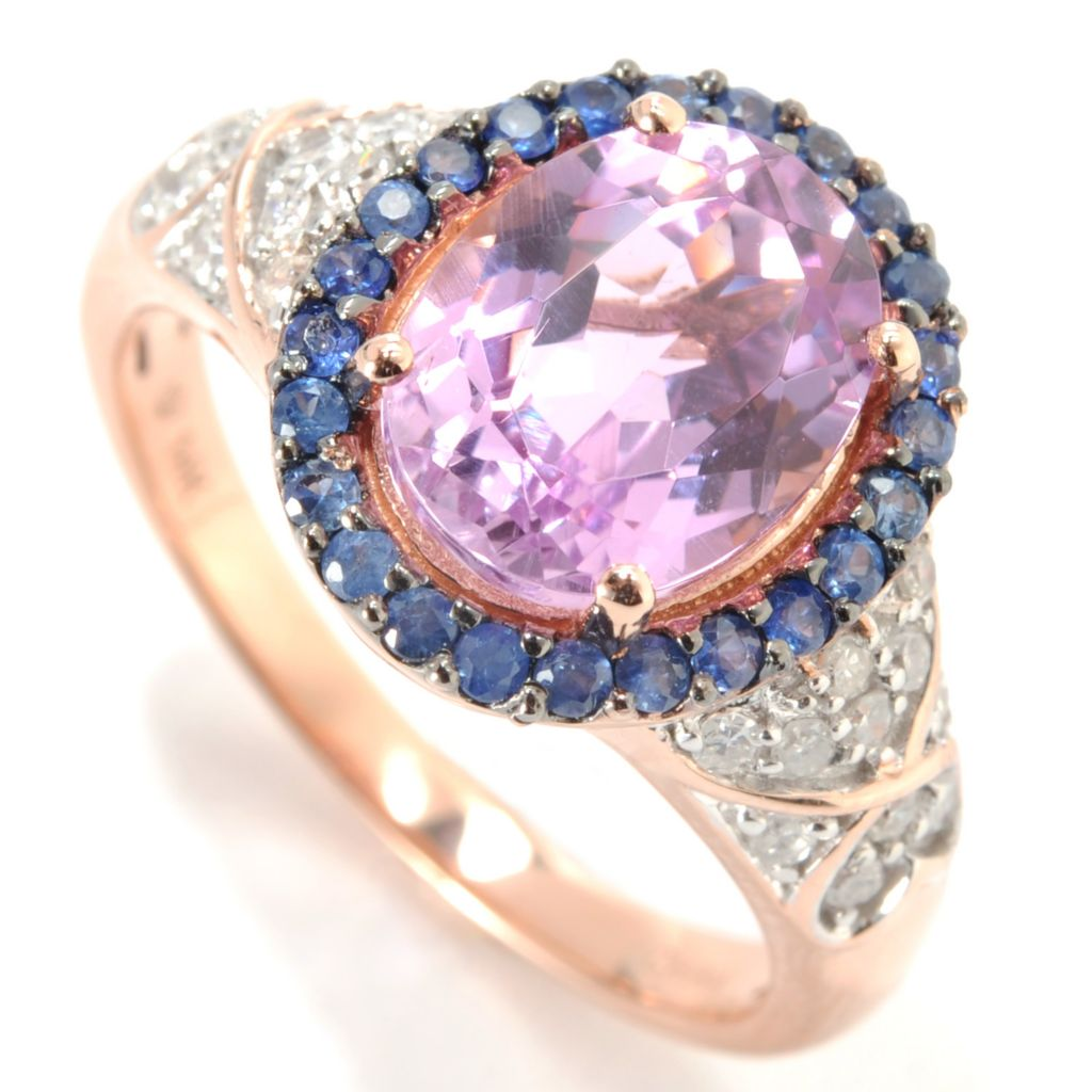 132-940 - Gem Treasures 14K Rose Gold 3.23ctw Kunzite, Sapphire & Diamond Halo Ring