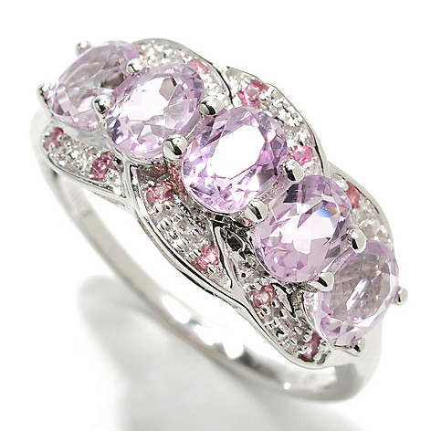 132-942 - Gem Treasures 14K White Gold 1.98ctw Kunzite & Pink Tourmaline Five-Stone Ring