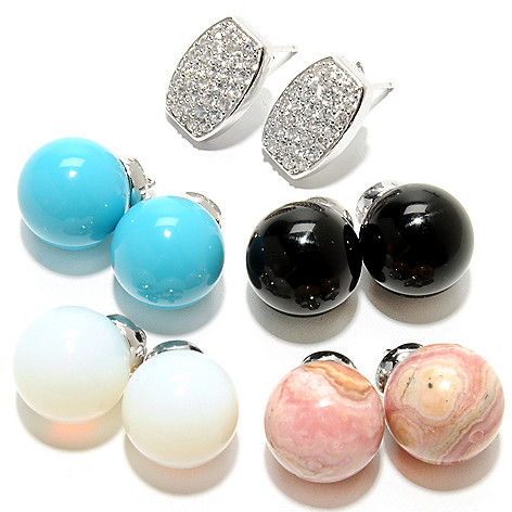 132-943 - Gem Treasures Set of 4 Gemstone & White Zircon Interchangeable Drop Earrings