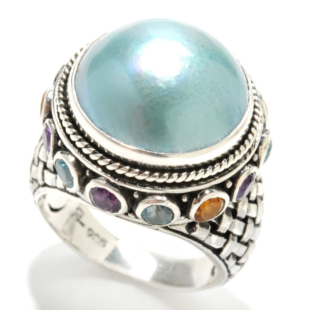 132-946 - Artisan Silver by Samuel B. 14mm Mabe Cultured Pearl & Multi Gem Textured Ring