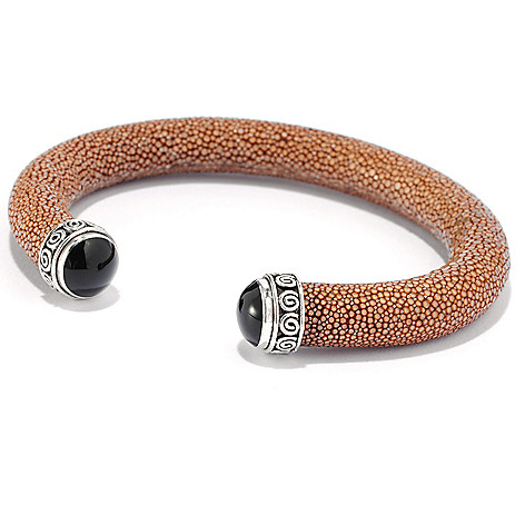 132-948 - Artisan Silver by Samuel B. 7'' 10mm Gemstone & Genuine Stingray Cuff Bracelet