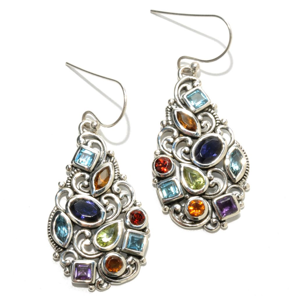"132-949 - Artisan Silver by Samuel B. 1.5"" 2.58ctw Multi Gemstone Textured Drop Earrings"