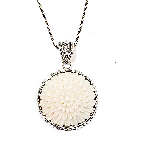 132-952 - Artisan Silver by Samuel B. 28mm Carved Bone Flower Pendant w/ 18'' Chain