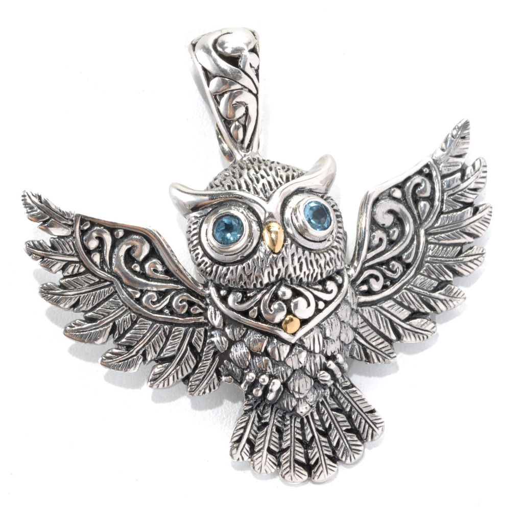 132-962 - Artisan Silver by Samuel B. Blue Topaz Textured Owl Enhancer Pendant