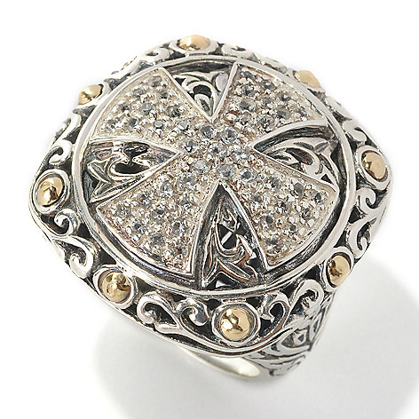 132-963 - Artisan Silver by Samuel B. Faceted White Topaz Textured Cross Ring