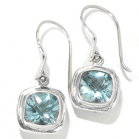 132-965 - Artisan Silver by Samuel B. 1.25'' 4.00ctw Cushion Cut Gemstone Drop Earrings