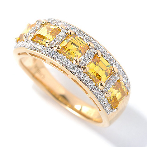 132-968 - Brilliante® Gold Embraced™ 2.90 DEW Simulated Sapphire Five-Stone Halo Band Ring