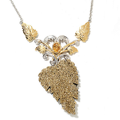 132-970 - Gems en Vogue II 20'' 35 x 25mm Hand-Carved Golden Drusy Leaf & Citrine Necklace