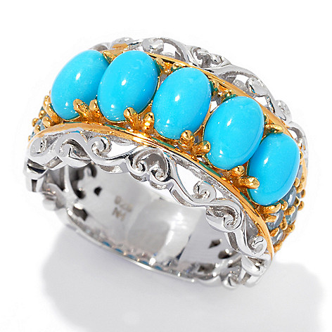 132-971 - Gems en Vogue Sleeping Beauty Turquoise & Swiss Blue Topaz Five-Stone Band Ring