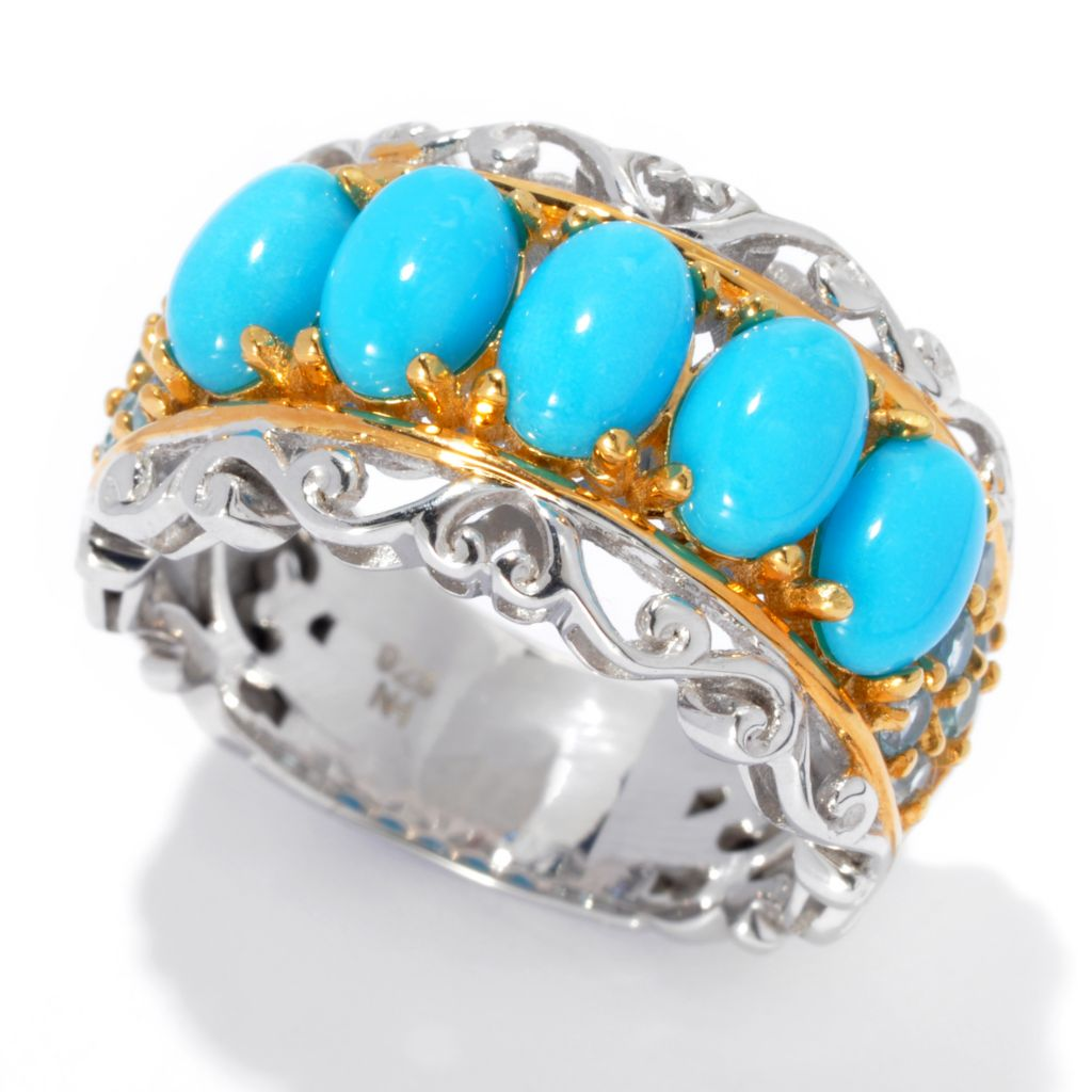 132-971 - Gems en Vogue II Five-Stone Sleeping Beauty Turquoise & Swiss Blue Topaz Scrollwork Ring