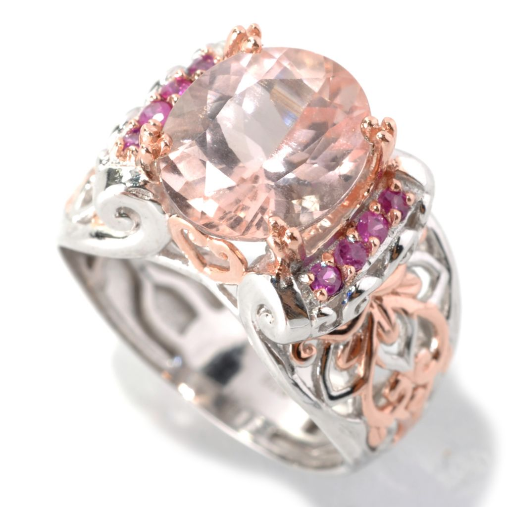 132-974 - Gems en Vogue II 3.15ctw Oval Morganite & Pink Sapphire Ring