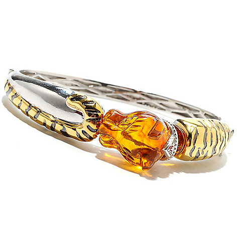 132-977 - Gems en Vogue 28 x 17mm Carved Baltic Amber Panther Hinged Bangle Bracelet
