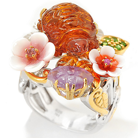 132-979 - Gems en Vogue 16 x 11mm Carved Amber Turtle & Flower Multi Gemstone Ring