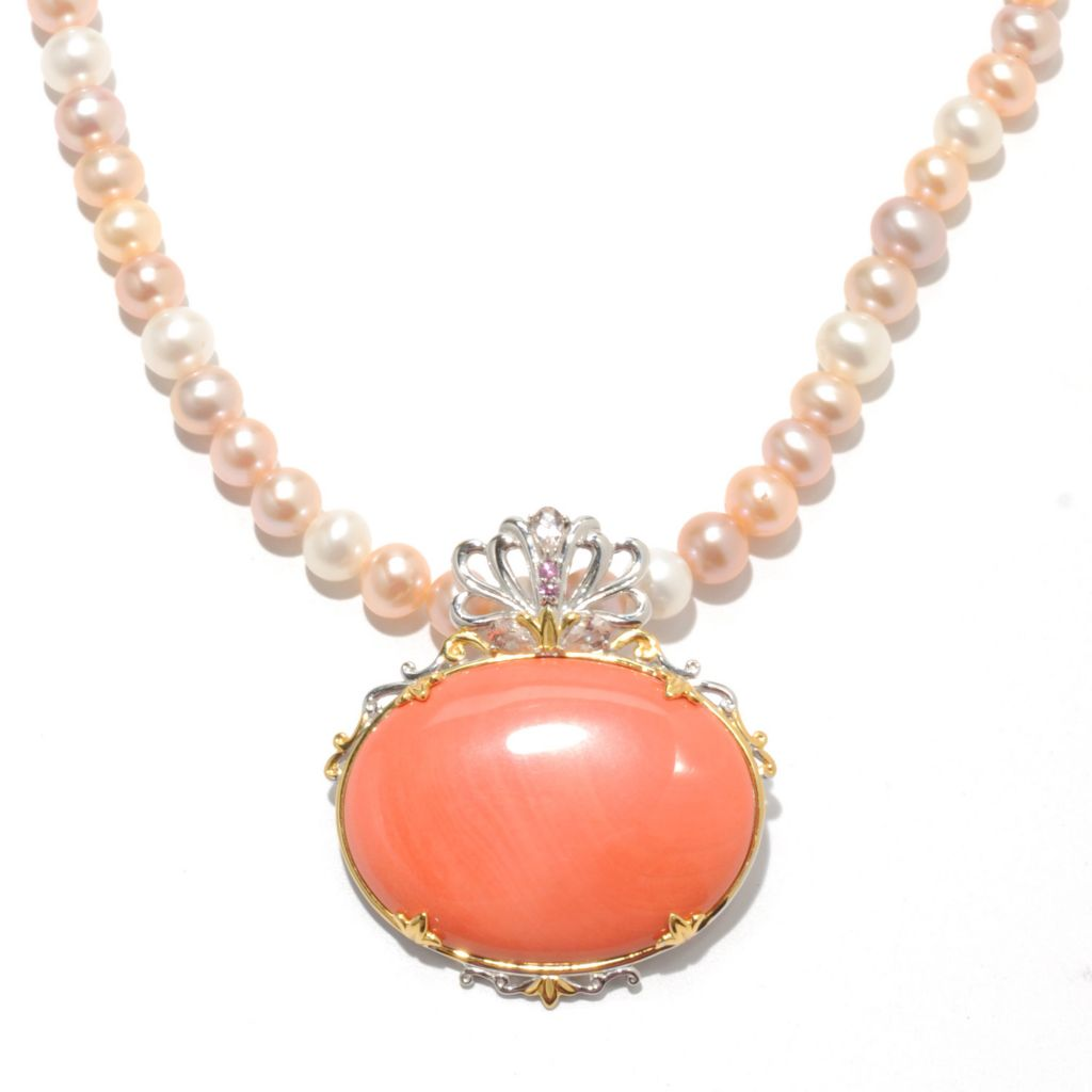 "132-980 - Gems en Vogue II 40 x 30mm Coral Pin-Pendant w/ 20"" Cultured Pearl Necklace"