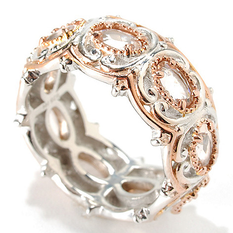 132-983 - Gems en Vogue II 1.68ctw Oval Morganite Eternity Band Ring
