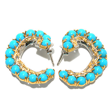 132-987 - Gems en Vogue II Sleeping Beauty Turquoise Front-Facing Twist Hoop Earrings