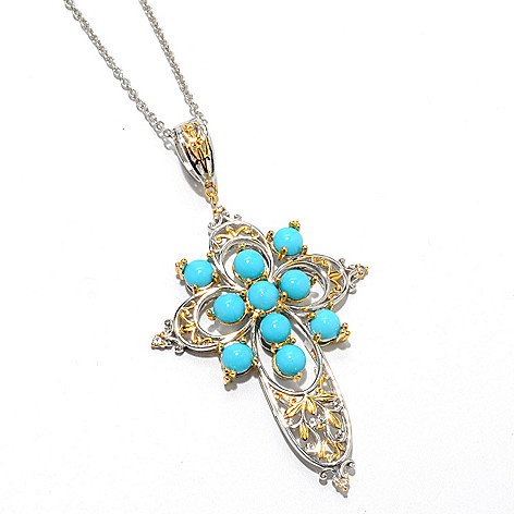 132-988 - Gems en Vogue II Sleeping Beauty Turquoise & White Sapphire Cross Pendant w/ Chain