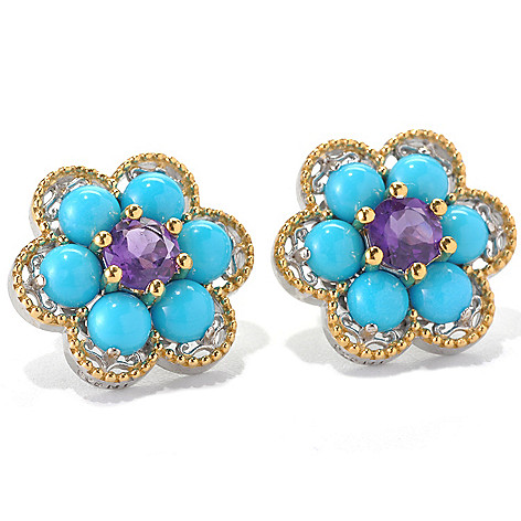 132-989 - Gems en Vogue II Sleeping Beauty Turquoise & Gem Flower Button Earrings