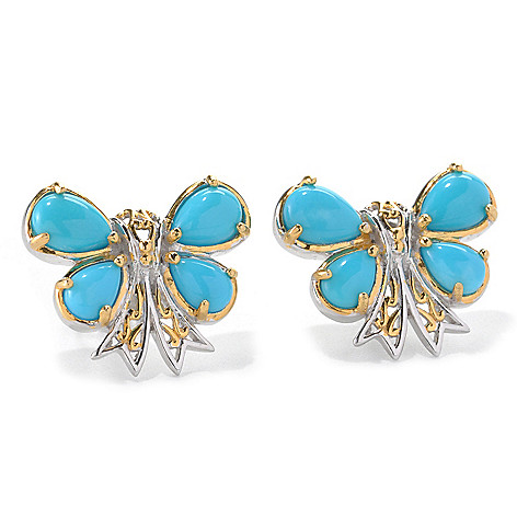 132-991 - Gems en Vogue Pear Shaped Sleeping Beauty Turquoise Bow Button Earrings