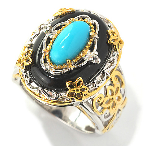 132-992 - Gems en Vogue 10 x 5mm Sleeping Beauty Turquoise, Onyx & White Sapphire Ring