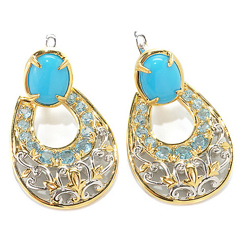 132-994 - Gems en Vogue II 1.25'' Sleeping Beauty Turquoise & Topaz Door-Knocker Earrings
