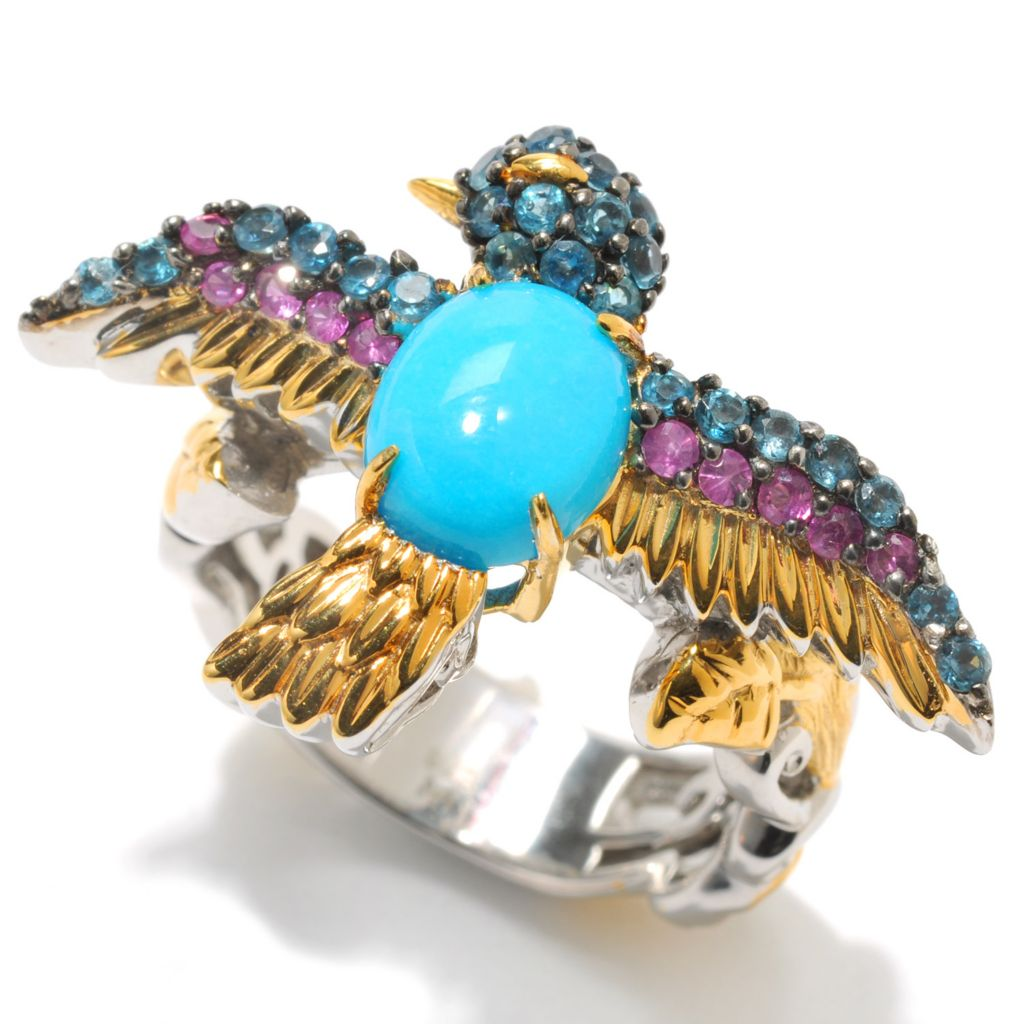132-995 - Gems en Vogue II 9 x 7mm Oval Sleeping Beauty Turquoise & Gem Sculpted Bird Ring