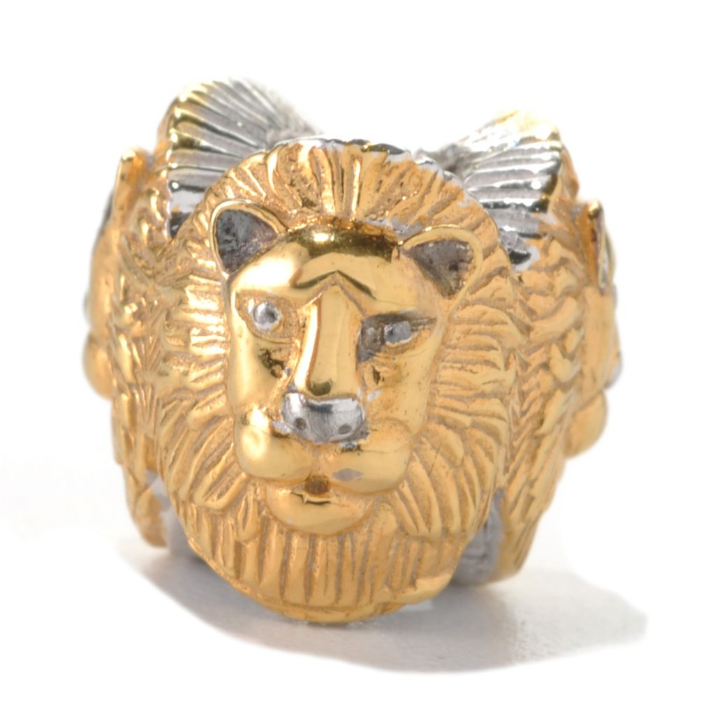 133-003 - Gems en Vogue Two-tone Sculpted Lion Trio Slide-on Charm