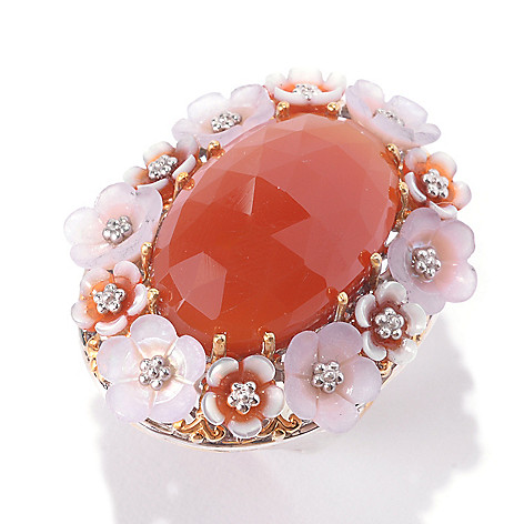 133-007 - Gems en Vogue 22 x 14mm Oval Carnelian & Multi Gemstone Flower Ring