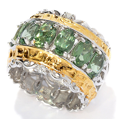 133-008 - Gems en Vogue II 2.96ctw Six-Stone Green Apatite & White Sapphire Wide Band Ring
