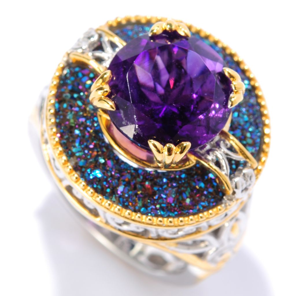 133-009 - Gems en Vogue II 4.25ctw African Amethyst & Cobalt Blue Drusy Raised Ring