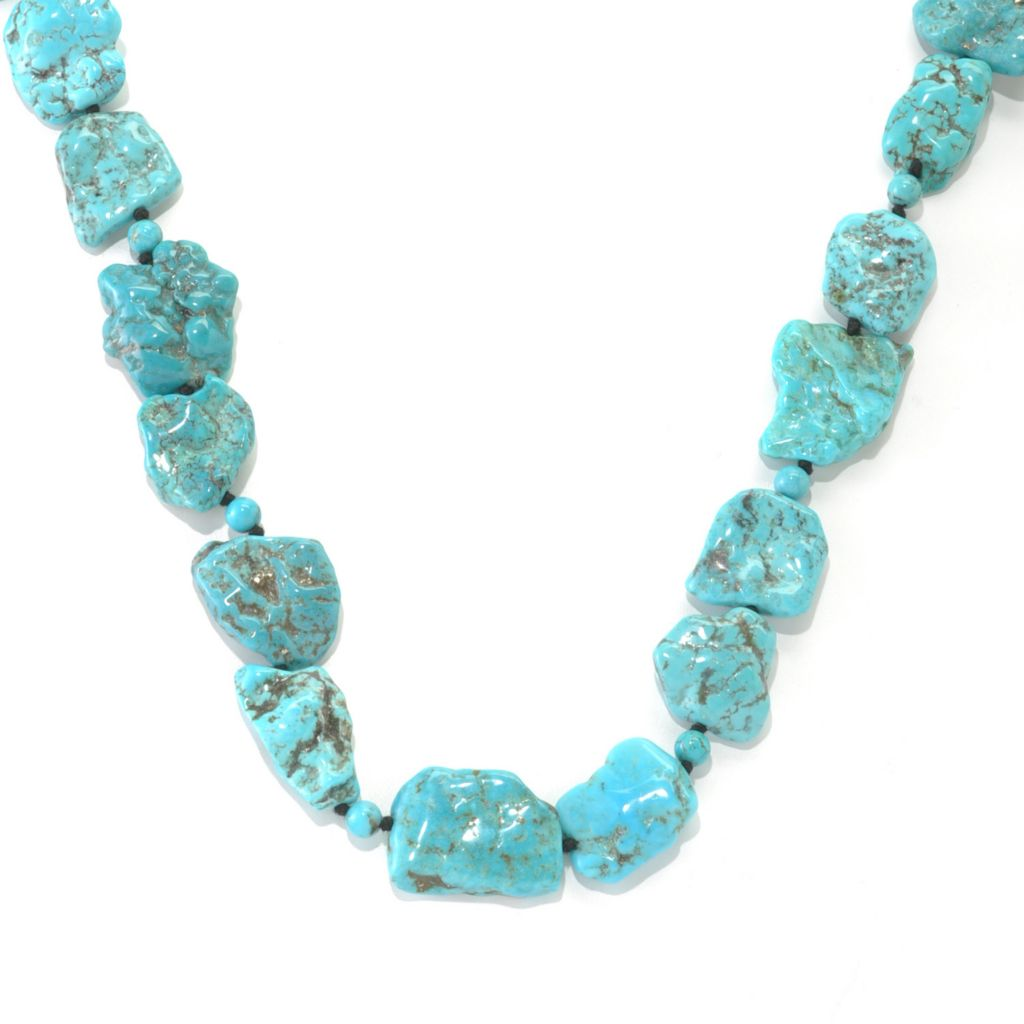 "133-013 - Gem Insider 36"" Freeform & Round Turquoise Endless Necklace"