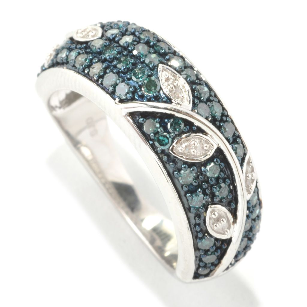 133-014 - Diamond Treasures Sterling Silver 0.50ctw Fancy Diamond Leaf & Vine Stack Ring