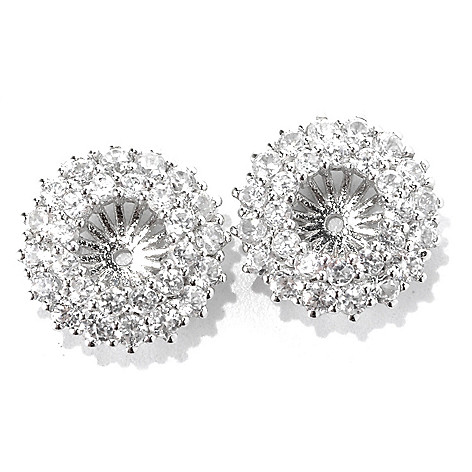 133-019 - Gem Treasures® Sterling Silver 2.73ctw White Zircon Double-Row Earring Jackets