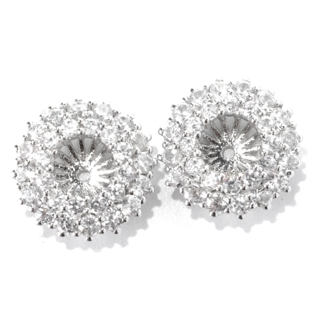133-019 - Gem Treasures Sterling Silver 2.73ctw White Zircon Double Row Earring Jackets