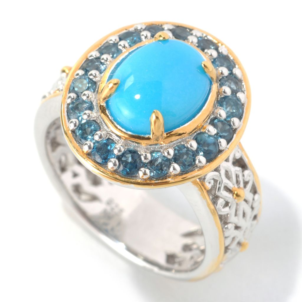133-028 - Gems en Vogue II 9 x 7mm Sleeping Beauty Turquoise & London Blue Topaz Filigree Ring