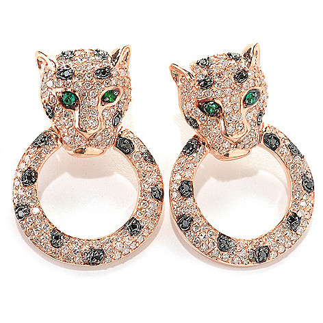 133-032 - EFFY 14K Rose Gold 1'' 1.50ctw Diamond & Emerald Panther Earrings