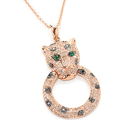"133-033 - EFFY 14K Rose Gold 0.75ctw Diamond & Emerald Panther Pendant w/ 18"" Chain"