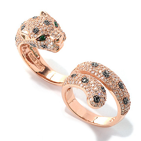 133-034 - Effy 14K Rose Gold 1.91ctw Diamond & Emerald Panther Dual Finger Wrap-Around Ring