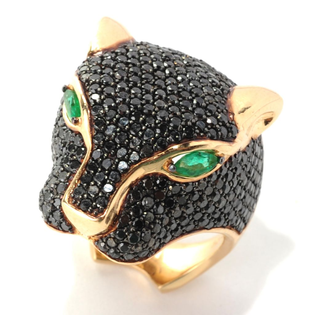 133-038 - Effy 14K Gold 3.80ctw Black Diamond & Emerald Panther Ring