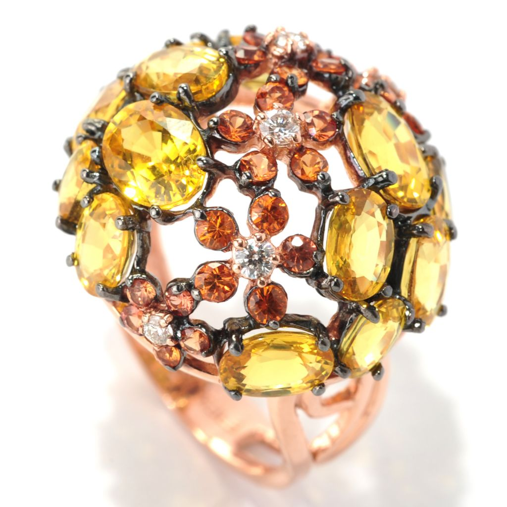 133-042 - EFFY 14K Rose Gold 8.68ctw Fancy Colored Sapphire & Diamond Floral Dome Ring