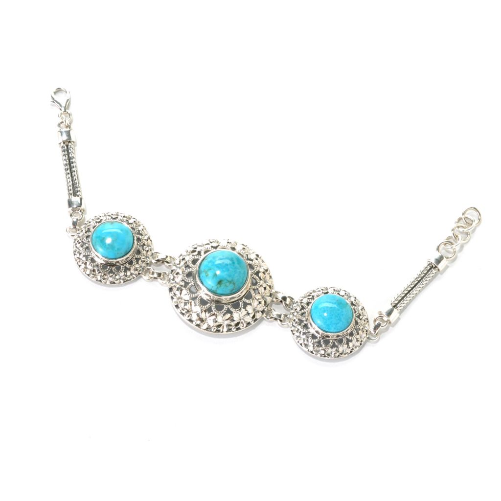 "133-044 - Gem Insider Sterling Silver 7"" Sleeping Beauty Turquoise Three-Stone Openwork Bracelet"