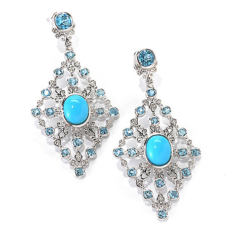133-045 - Gem Insider Sterling Silver 2.5'' Sleeping Beauty Turquoise & Topaz Earrings