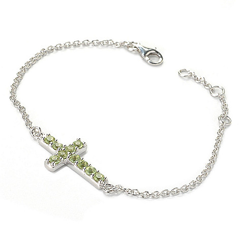 133-047 - Gem Insider Sterling Silver 8'' 1.40ctw Gemstone Sideways Cross Bracelet